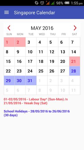 Calendario di Singapore 2017
